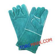 Сварочные замшевые перчатки (краги) зеленые