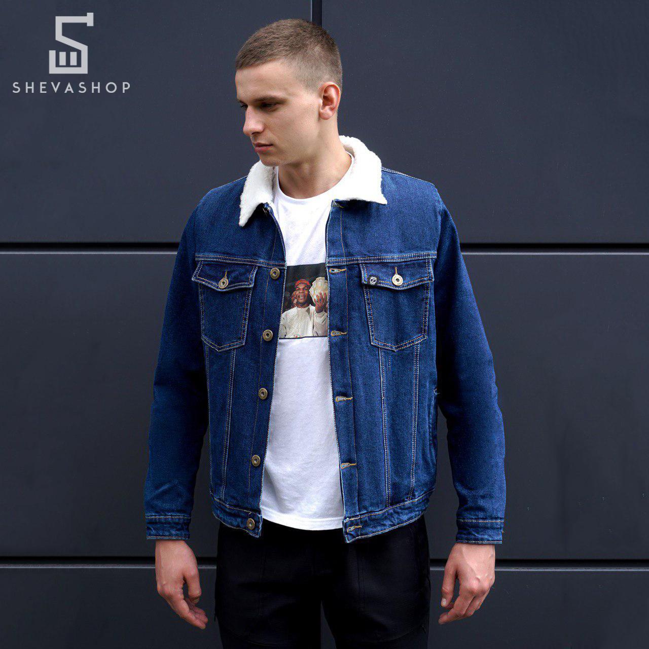 Джинсовая мужская куртка BeZet Wool синяя