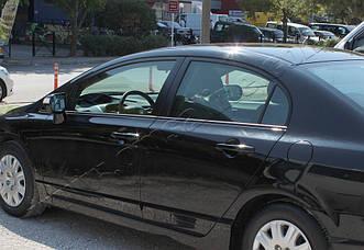 Honda Civic Sedan (2002-2006) Молдинги стекол нижние 6шт