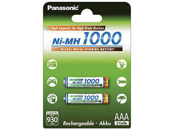 Аккумуляторы Panasonic High Capacity AAA/HR03 NI-MH 1000 mAh BL 2 шт