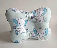 """Детская ортопедическая подушка для лечения и профилактики кривошеи у младенцев """"Слоны на мятном"""""""