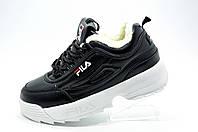 Женские кроссовки с мехом в стиле Fila Disruptor 2, White\Black (Зимние)