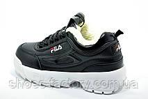 Женские кроссовки с мехом в стиле Fila Disruptor 2, White\Black (Зимние), фото 2