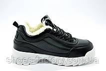 Женские кроссовки с мехом в стиле Fila Disruptor 2, White\Black (Зимние), фото 3