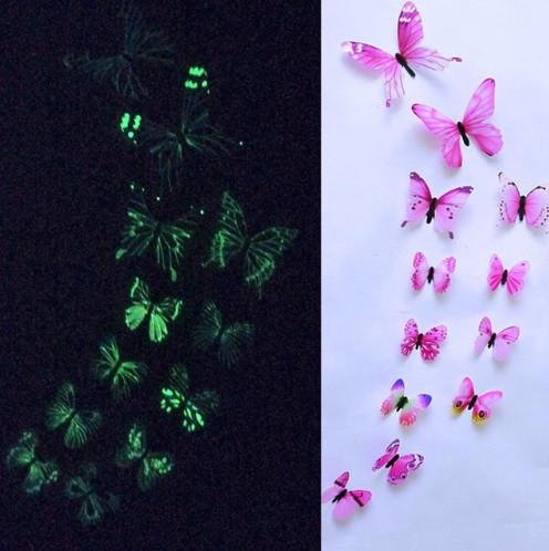 Розовые светящиеся бабочки на 2-х стороннем скотче, в наборе 12шт. разных размеров, пластик