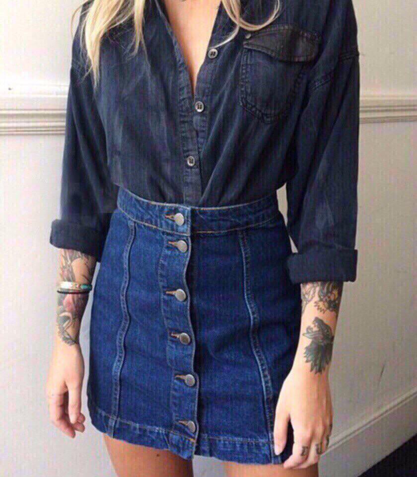 Юбка джинсовая на пуговицах спереди