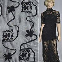 Сетка стрейч черная с настроченными черными цветами и бусинами