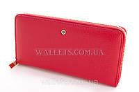 Женский кошелек на молнии кожаный красный