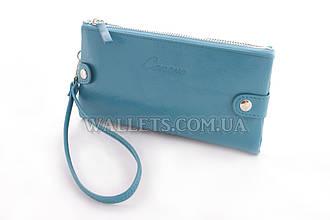 Женский кошелек с ручкой на кнопках голубой