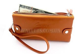 Женский кошелек с ручкой рыжий