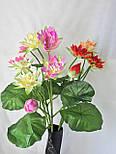 Искусственные цветы лотос 2  головки и бутон., фото 2