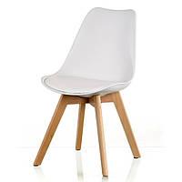Стул Sedia white DSM Eames Style, белое сиденье с мягкой подушкой и буковые ножки Бесплатная доставка