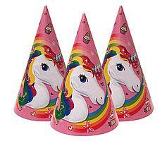 Колпачки праздничные бумажные детские для дня рождения Единорог