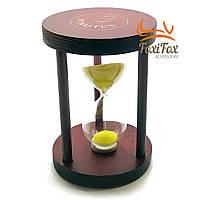 Годинник пісочний 3 хв жовтий пісок (7х7х10см)