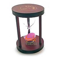 Годинник пісочний 3 хв рожевий пісок (7х7х10см)