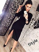 Платье с разрезом, чёрное