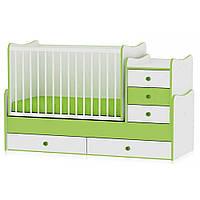 Кроватка-трансформер Bertoni MAXI PLUS (white/green) 15231