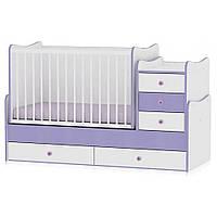 Кроватка-трансформер Bertoni MAXI PLUS (white/violet) 15094