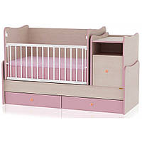 Кроватка-трансформер Bertoni TREND PLUS (oak/pink) 15227