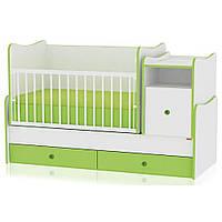 Кроватка-трансформер Bertoni TREND PLUS (white/green) 14515