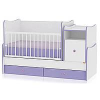 Кроватка-трансформер Bertoni TREND PLUS (white/violet) 14514