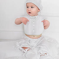 Слюнявчик Ажурный Mimino белый