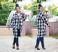 Женское батальное кашемировое пальто с карманами. 2 цвета!