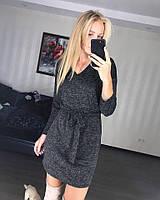 Черное платье зима прямое с поясом шерстяное 40 42 44 46 цвета