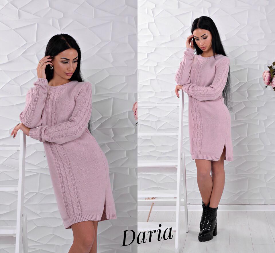 936333f0240 Стильное вязаное платье розового цвета Daria - Интернет-магазин