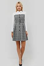 Расклешенное серое платье-рубашка с белым верхом (Komos crd), фото 2