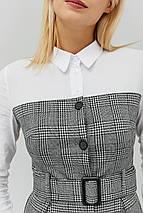 Расклешенное серое платье-рубашка с белым верхом (Komos crd), фото 3