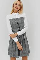 Расклешенное серое платье-рубашка с белым верхом (Komos crd)