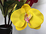 Орхидея искусственная 5 голов,  бархатная , фото 7
