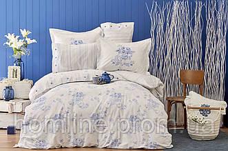 Постельное белье Karaca Home перкаль Brisa 2018-2 mavi голубой евро размер