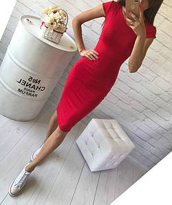 Обтягивающее платье средней длины красного цвета с коротким рукавом Размеры