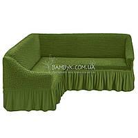 Евро чехол на угловой диван Karven зеленого цвета