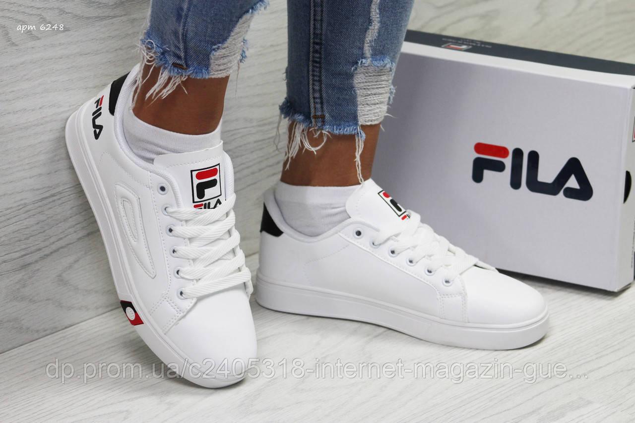 e9ac0a762107 Модные женские кроссовки Fila (реплика) белые синие с красным -  Интернет-магазин