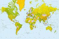 Фотообои фотошпалери Wizard & Genius 624 Политическая карта мира 175х115 бумажные