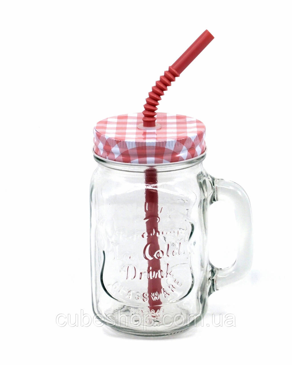 банка с ручкой Mason Jar Plaid 330 мл розовый купить в украине киеве по лучшей цене Cubeshop