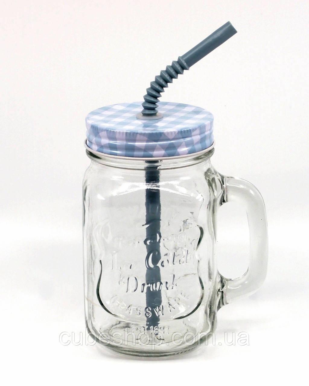 банка с ручкой Mason Jar Plaid 330 мл синий купить в украине киеве по лучшей цене Cubeshop