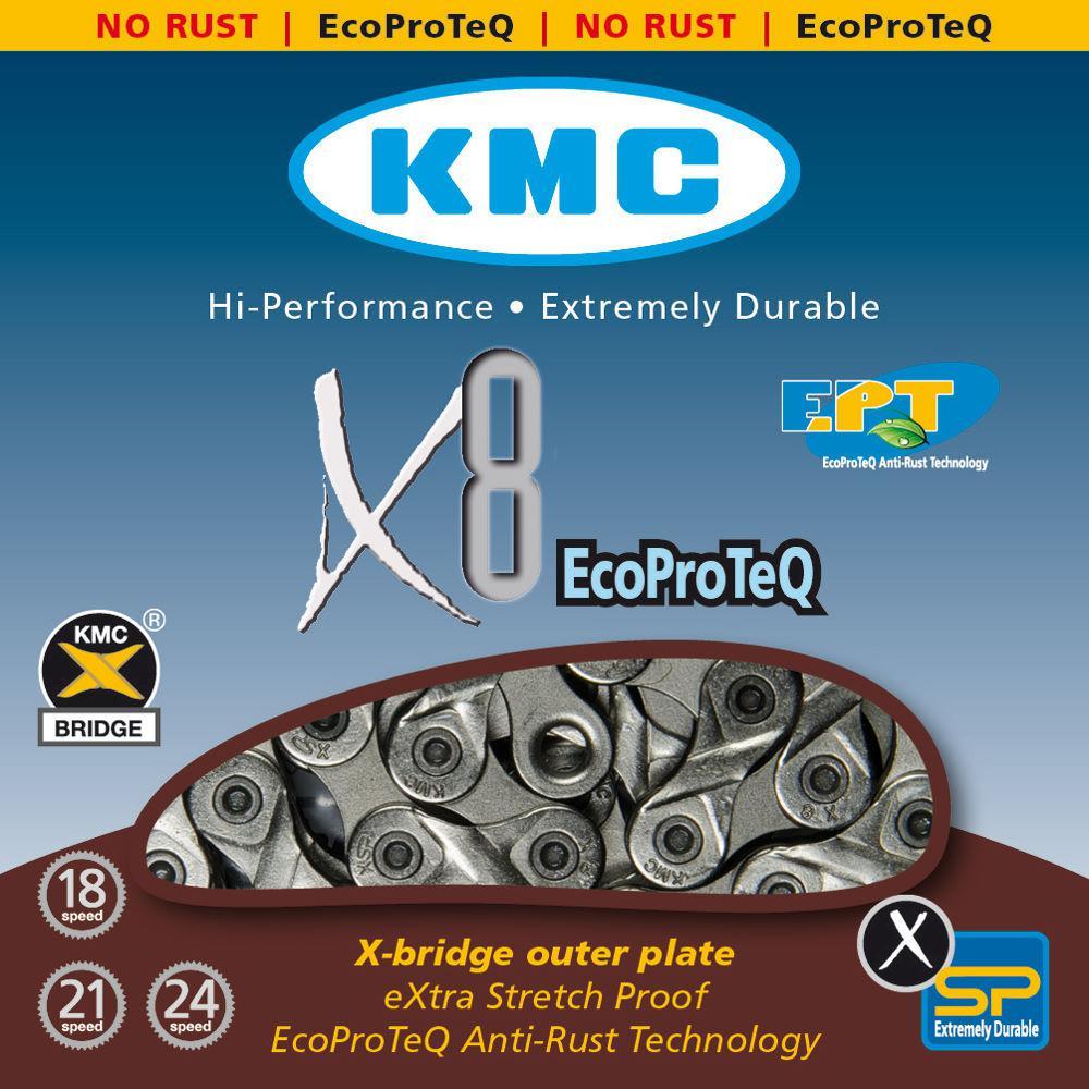 Цепь KMC X8 EPT (EcoProTeq), 6-8 скоростей