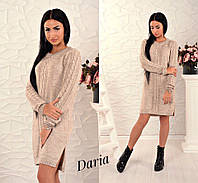 Вязаное бежевое турецкое платье  Daria
