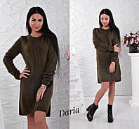 Вязаное платье до колен цвет хаки Daria
