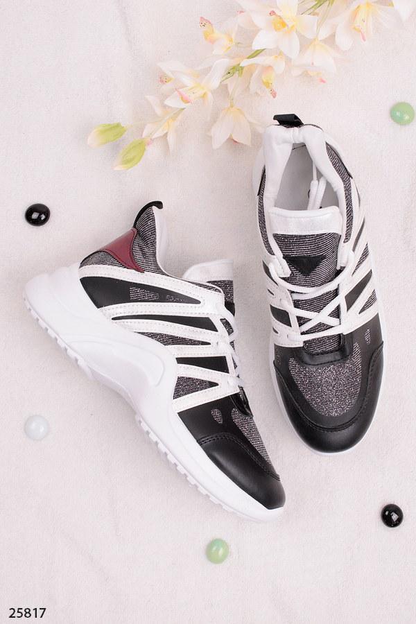 Женские стильные кроссовки белые с черным+серебро эко-кожа+текстиль