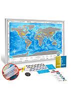 Скретч-карта мира Discovery Map Silver (UKR) в серебристой раме