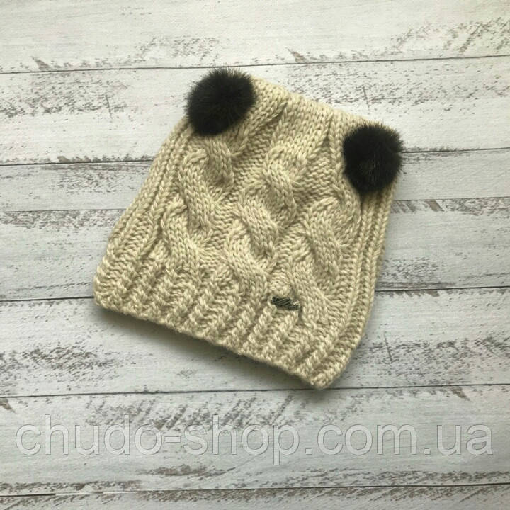 Детская шапка для девочки бежевая (возраст 1,5 - 7 лет)