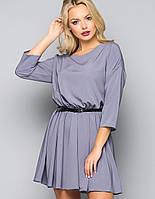 Женское однотонное шелковое платье (5011-5012 bej)