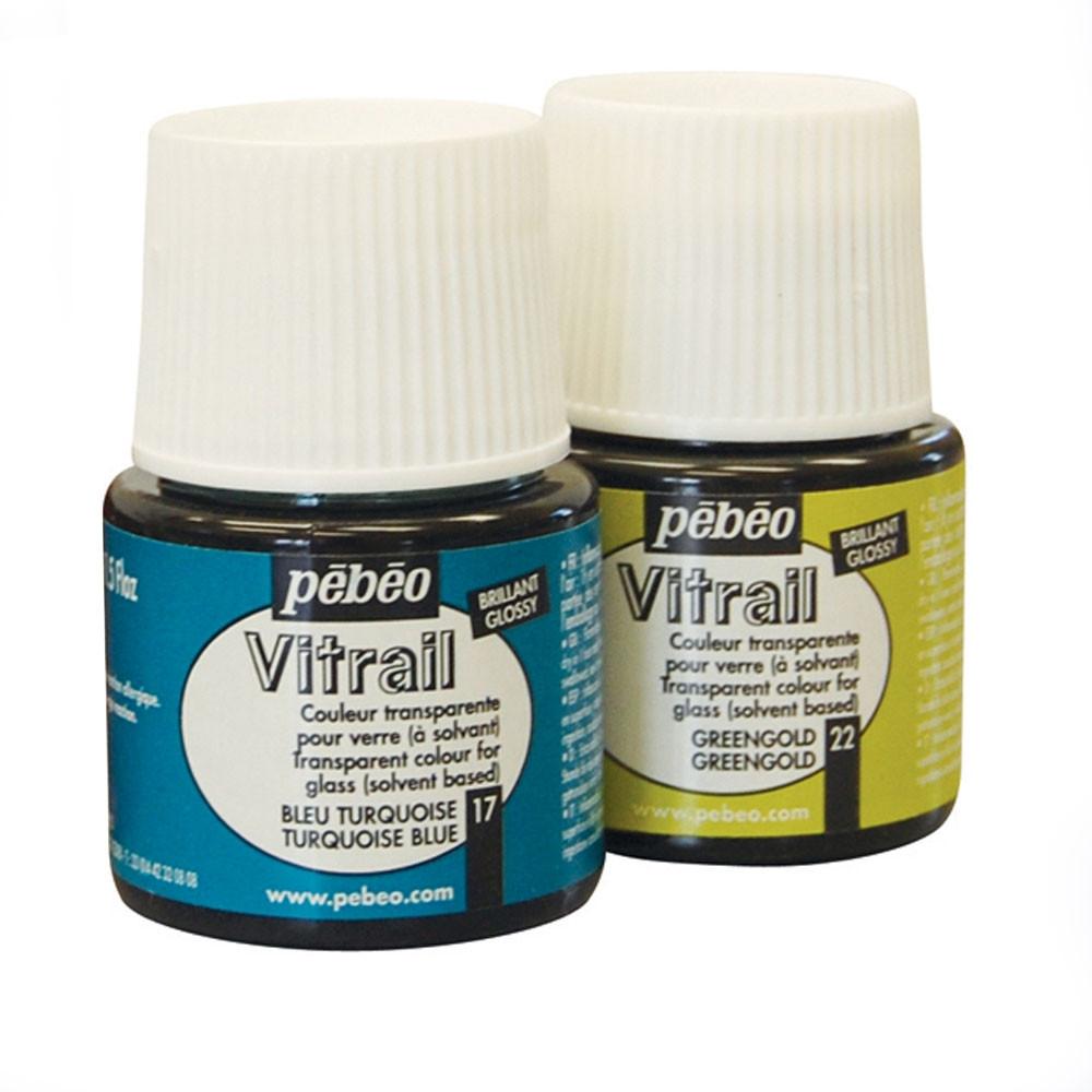 Краска витражная Пебео Pebeo Vitrail (Франция) 45 мл, прозрачная, зеленое золото 22