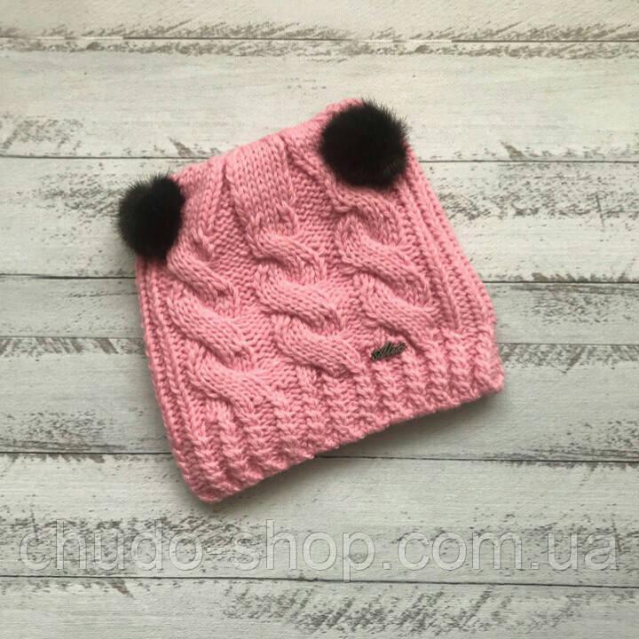 Детская шапка для девочки (возраст 1,5 - 7 лет)