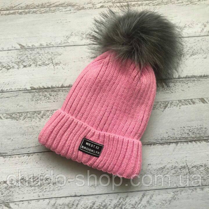 Детская шапка для девочки розовая (возраст 1- 5 лет)